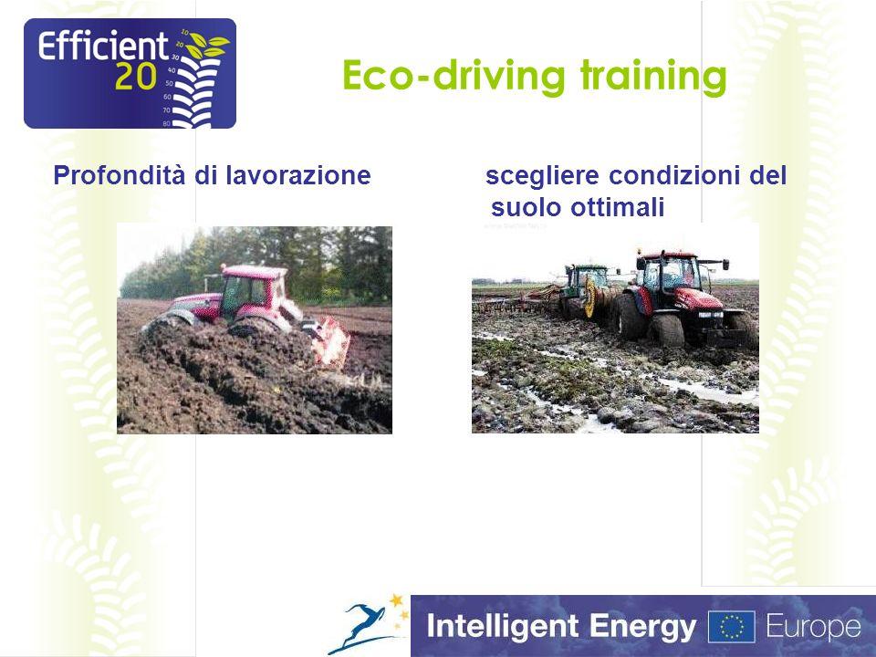 Eco-driving training Profondità di lavorazione scegliere condizioni del suolo ottimali