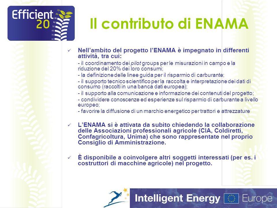 Il Progetto Efficient20 in dettaglio Il risparmio e lefficienza energetica nel settore agricolo Il consumo di carburante in agricoltura È possibile risparmiare.