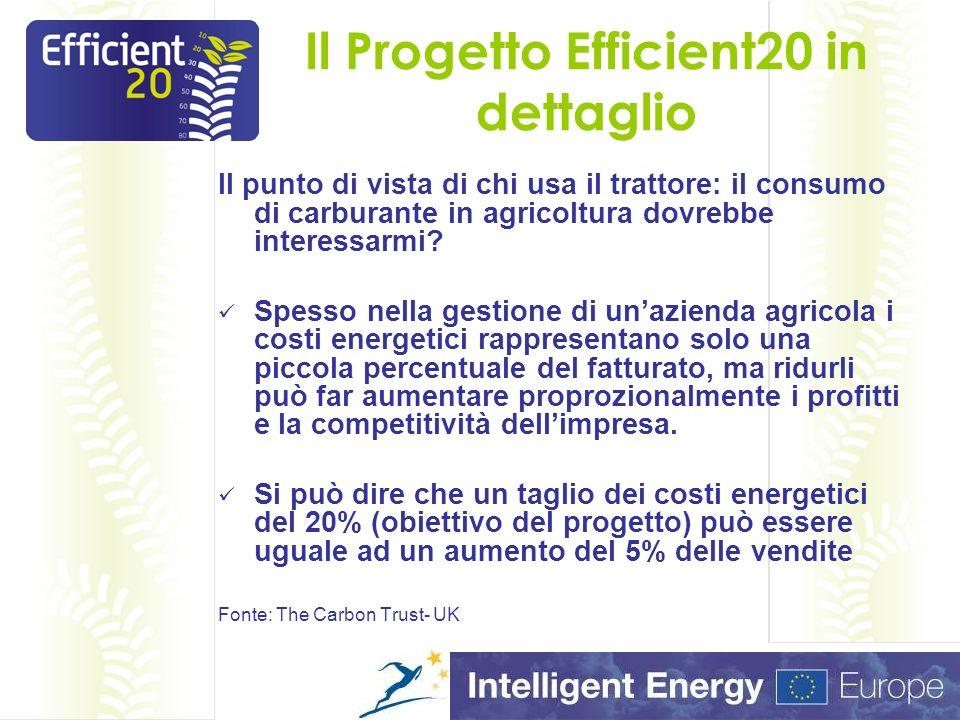 Il Progetto Efficient20 in dettaglio Il punto di vista di chi usa il trattore: il consumo di carburante in agricoltura dovrebbe interessarmi.