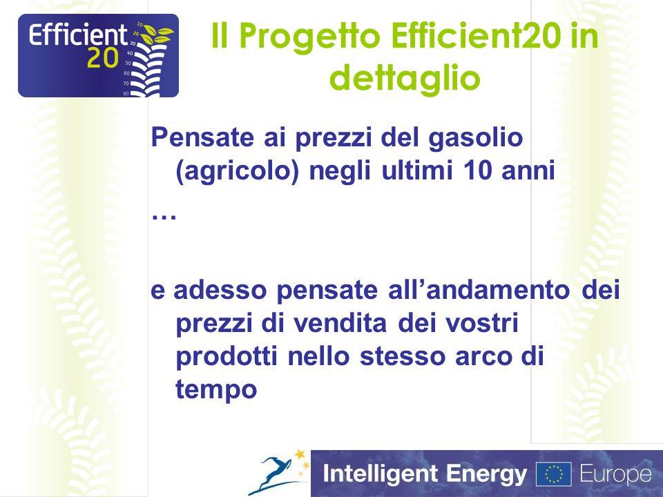 Il Progetto Efficient20 in dettaglio Pensate ai prezzi del gasolio (agricolo) negli ultimi 10 anni … e adesso pensate allandamento dei prezzi di vendita dei vostri prodotti nello stesso arco di tempo