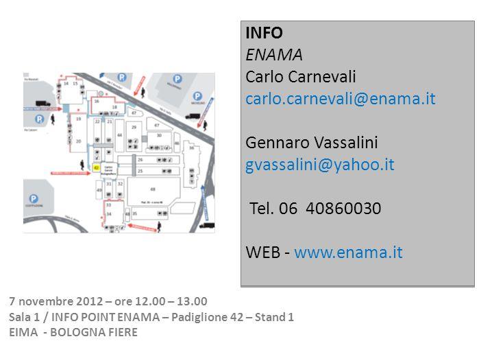 INFO ENAMA Carlo Carnevali carlo.carnevali@enama.it Gennaro Vassalini gvassalini@yahoo.it Tel.