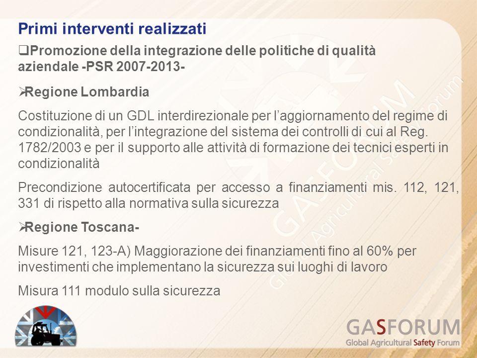 Promozione della integrazione delle politiche di qualità aziendale -PSR 2007-2013- Regione Lombardia Costituzione di un GDL interdirezionale per laggiornamento del regime di condizionalità, per lintegrazione del sistema dei controlli di cui al Reg.