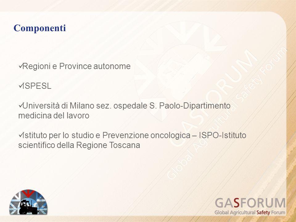 Componenti Regioni e Province autonome ISPESL Università di Milano sez.