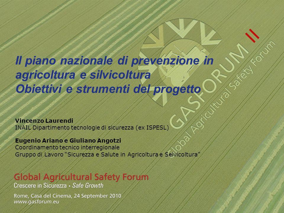 Il piano nazionale di prevenzione in agricoltura e silvicoltura Obiettivi e strumenti del progetto Vincenzo Laurendi INAIL Dipartimento tecnologie di