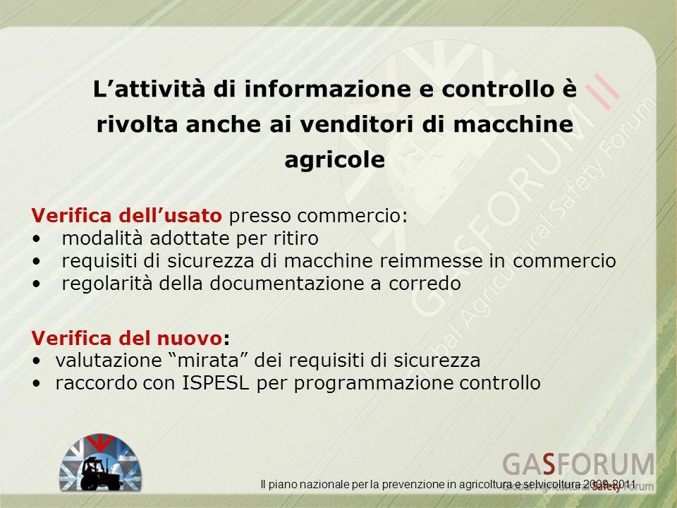 Lattività di informazione e controllo è rivolta anche ai venditori di macchine agricole Il piano nazionale per la prevenzione in agricoltura e selvico