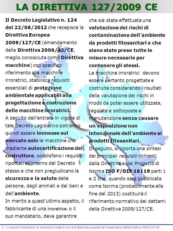 LA DIRETTIVA 127/2009 CE Il Decreto Legislativo n. 124 del 22/06/2012 che recepisce la Direttiva Europea 2009/127/CE (emendamento della Direttiva 2006