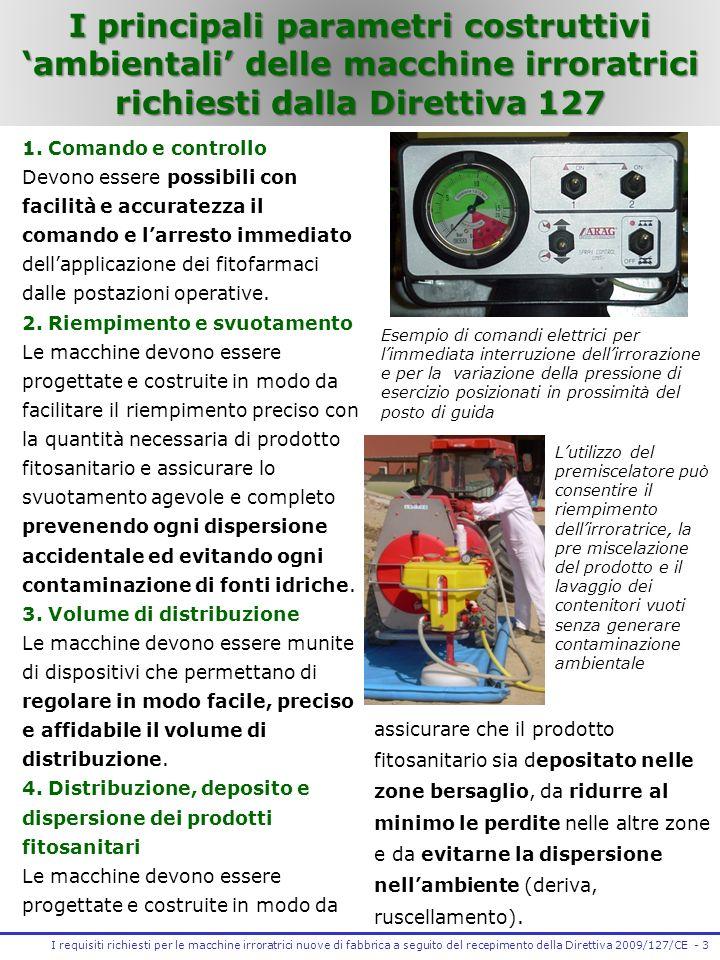 4 -I requisiti richiesti per le macchine irroratrici nuove di fabbrica a seguito del recepimento della Direttiva 2009/127/CE 5.