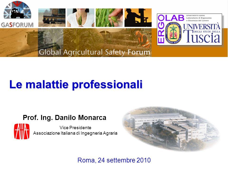 Prof. Ing. Danilo Monarca Roma, 24 settembre 2010 Le malattie professionali Vice Presidente Associazione Italiana di Ingegneria Agraria