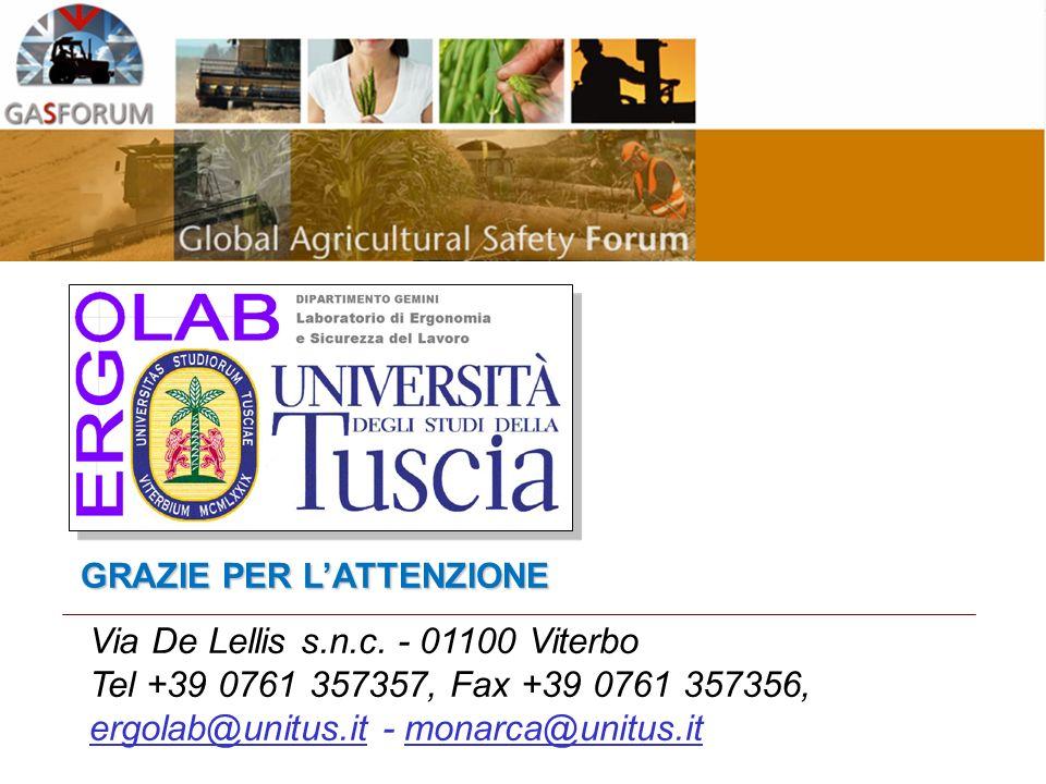 Via De Lellis s.n.c. - 01100 Viterbo Tel +39 0761 357357, Fax +39 0761 357356, ergolab@unitus.it - monarca@unitus.it GRAZIE PER LATTENZIONE