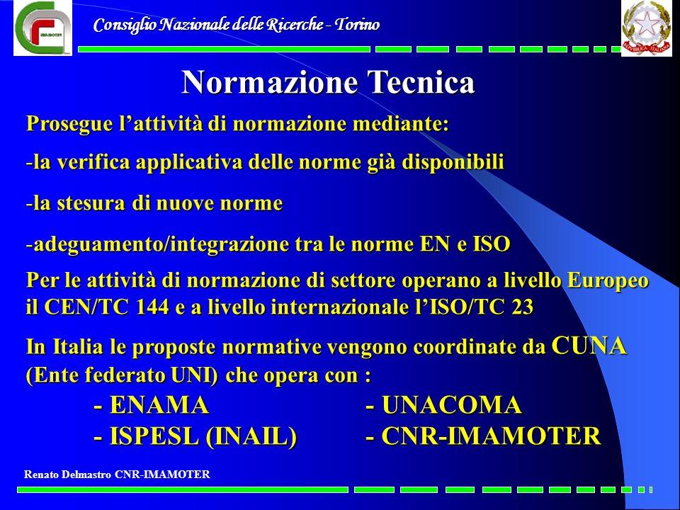 Consiglio Nazionale delle Ricerche - Torino Renato Delmastro CNR-IMAMOTER Normazione Tecnica Prosegue lattività di normazione mediante: -la verifica a
