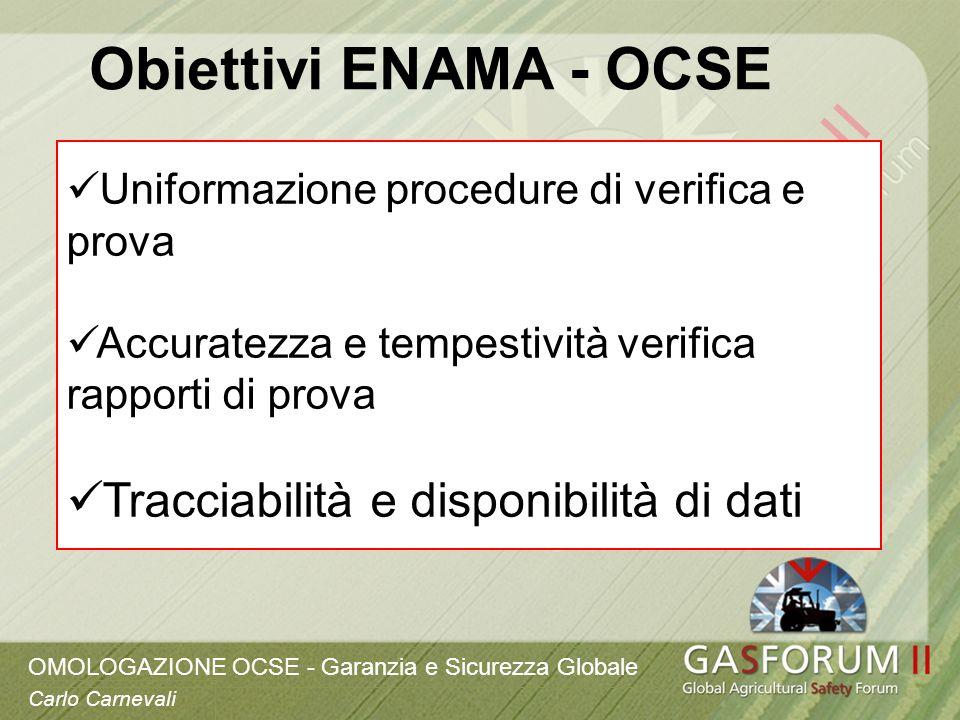 OMOLOGAZIONE OCSE - Garanzia e Sicurezza Globale Carlo Carnevali Uniformazione procedure di verifica e prova Accuratezza e tempestività verifica rappo