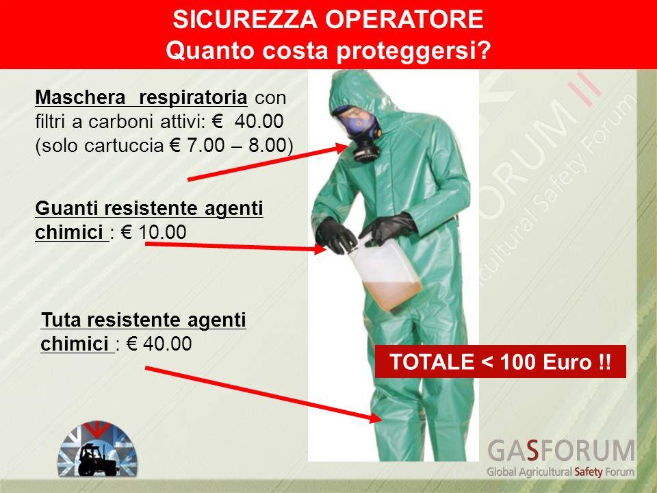 Maschera respiratoria con filtri a carboni attivi: 40.00 (solo cartuccia 7.00 – 8.00) Tuta resistente agenti chimici : 40.00 Guanti resistente agenti