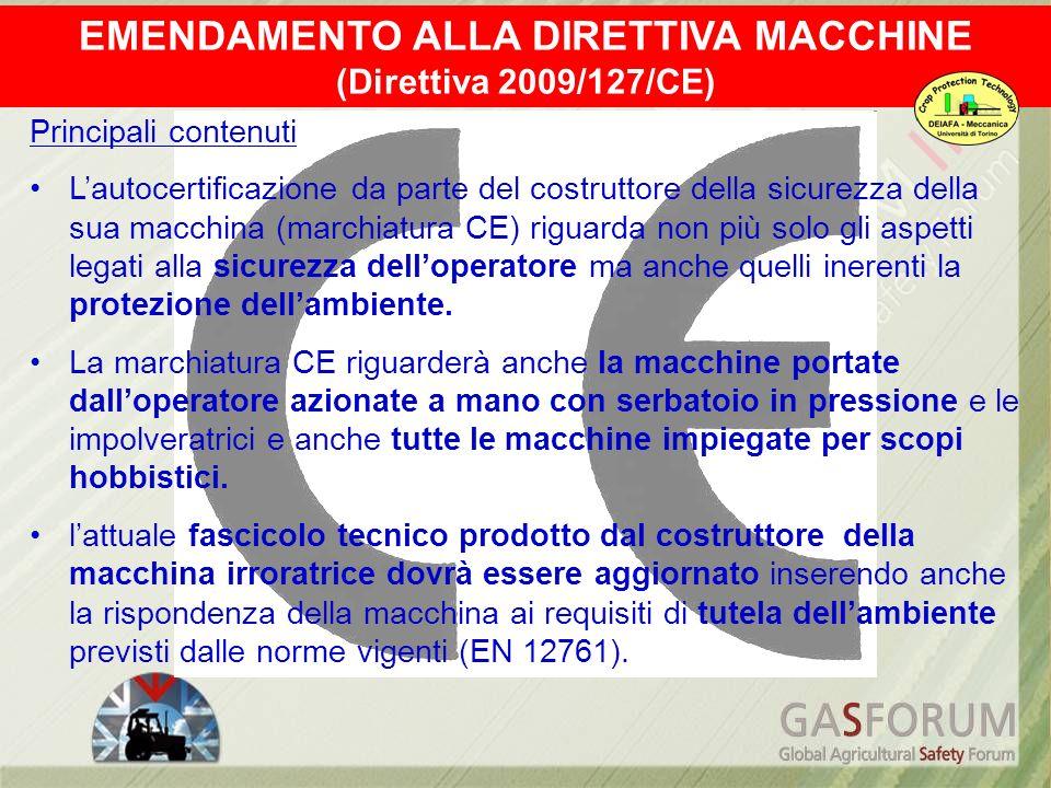 Principali contenuti Lautocertificazione da parte del costruttore della sicurezza della sua macchina (marchiatura CE) riguarda non più solo gli aspett