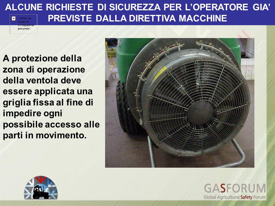 A protezione della zona di operazione della ventola deve essere applicata una griglia fissa al fine di impedire ogni possibile accesso alle parti in m