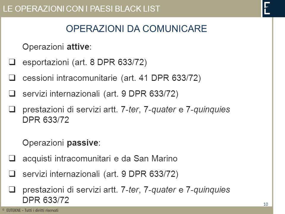 LE OPERAZIONI CON I PAESI BLACK LIST Operazioni attive: esportazioni (art.