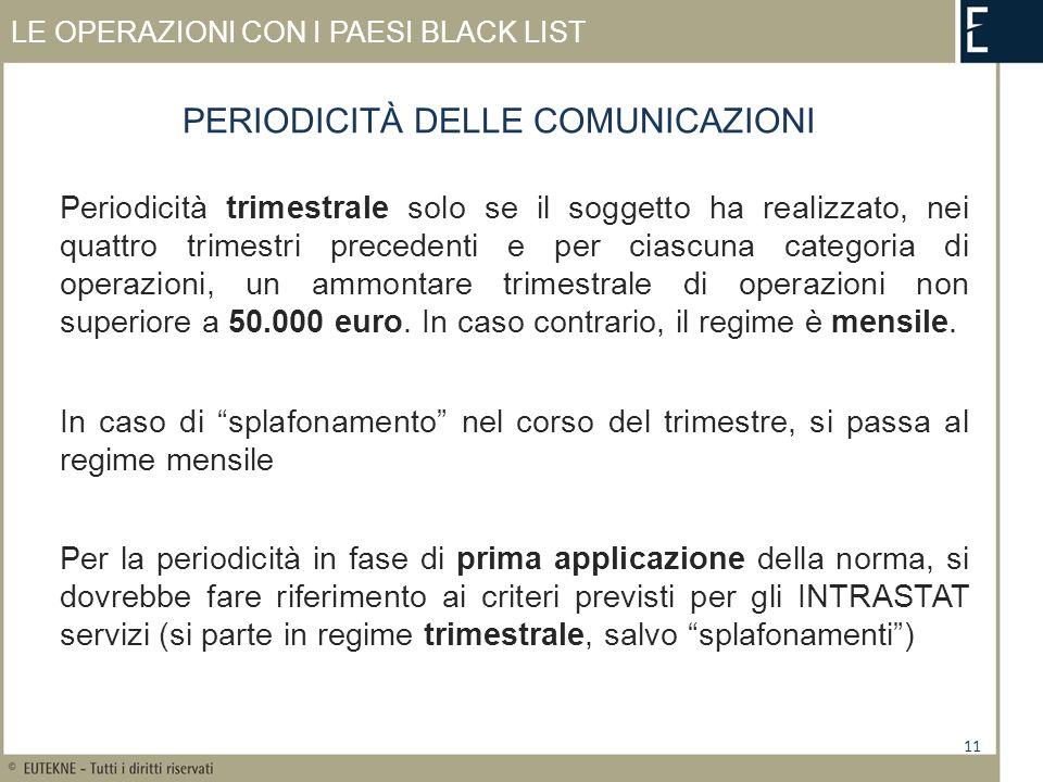 LE OPERAZIONI CON I PAESI BLACK LIST Periodicità trimestrale solo se il soggetto ha realizzato, nei quattro trimestri precedenti e per ciascuna categoria di operazioni, un ammontare trimestrale di operazioni non superiore a 50.000 euro.