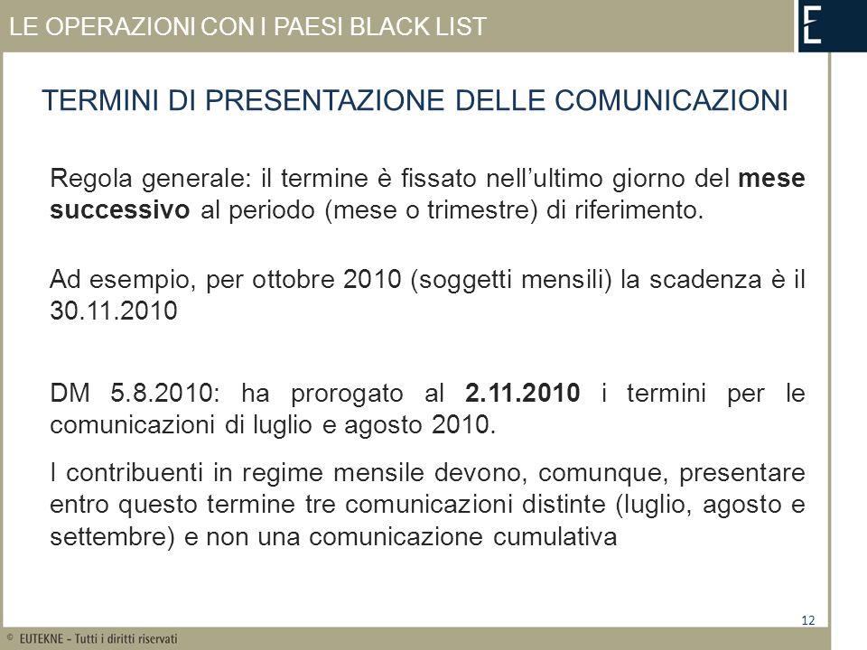 LE OPERAZIONI CON I PAESI BLACK LIST Regola generale: il termine è fissato nellultimo giorno del mese successivo al periodo (mese o trimestre) di riferimento.