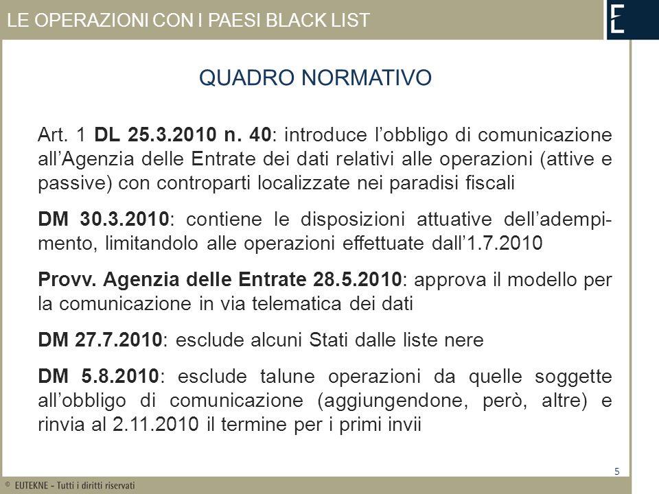 LE OPERAZIONI CON I PAESI BLACK LIST Art.1 DL 25.3.2010 n.