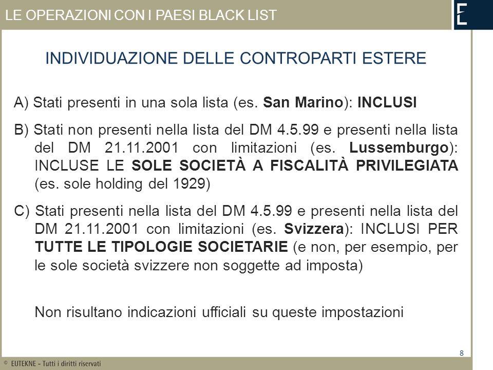 LE OPERAZIONI CON I PAESI BLACK LIST A) Stati presenti in una sola lista (es.