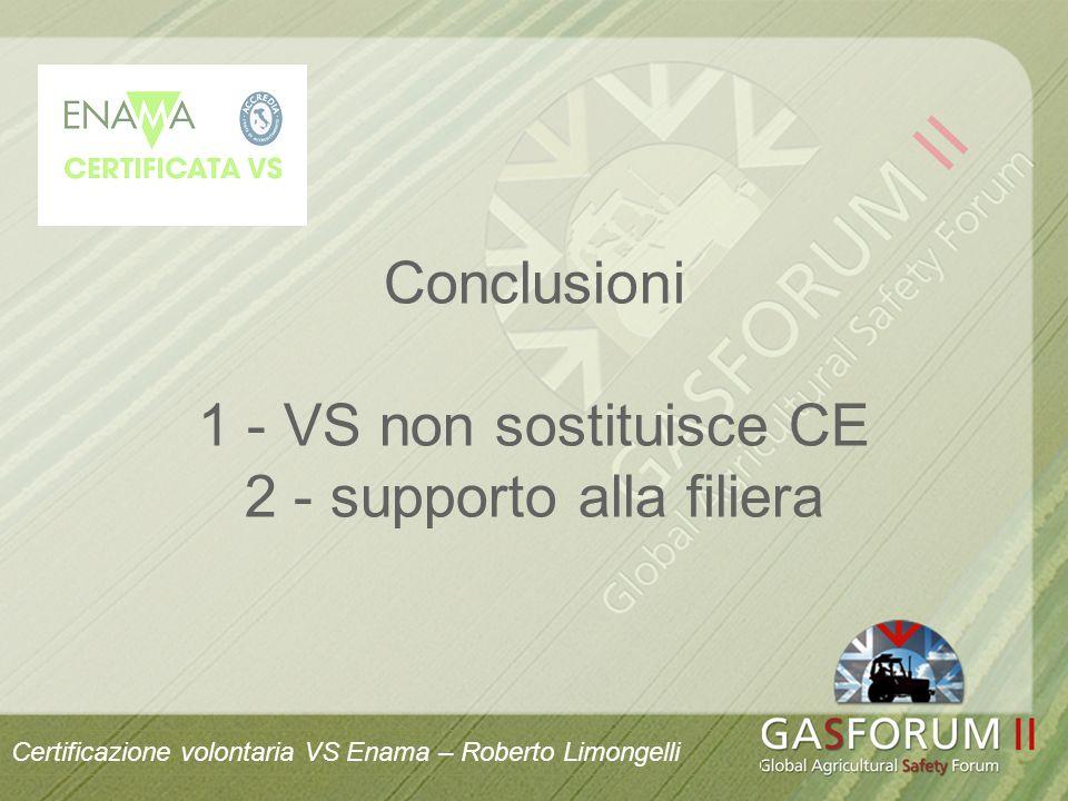 Conclusioni 1 - VS non sostituisce CE 2 - supporto alla filiera Certificazione volontaria VS Enama – Roberto Limongelli