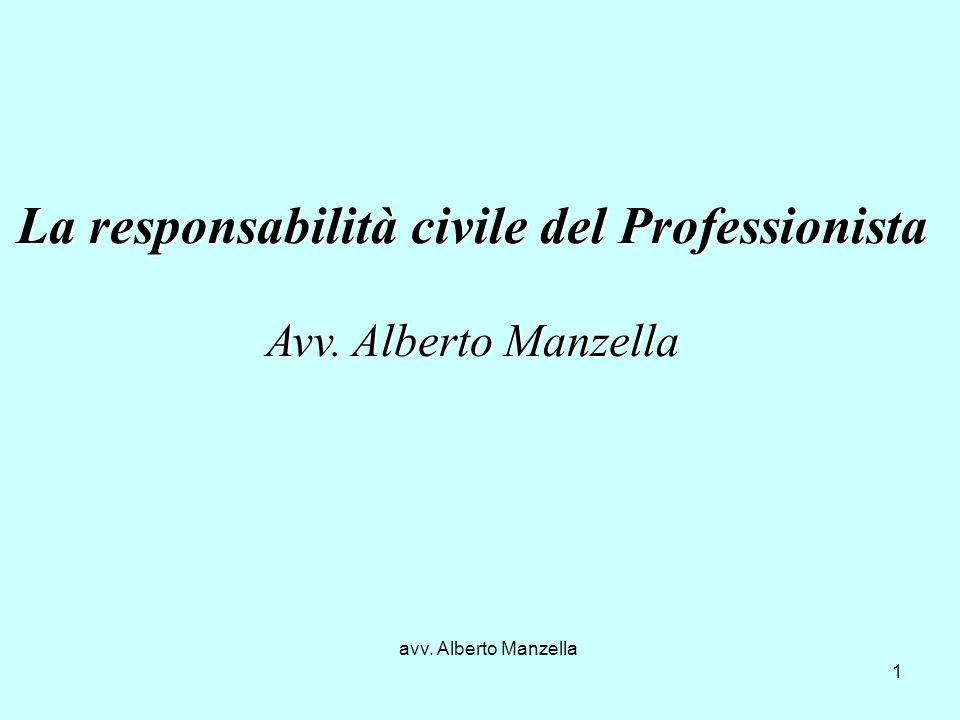 avv. Alberto Manzella 1 La responsabilità civile del Professionista Avv. Alberto Manzella