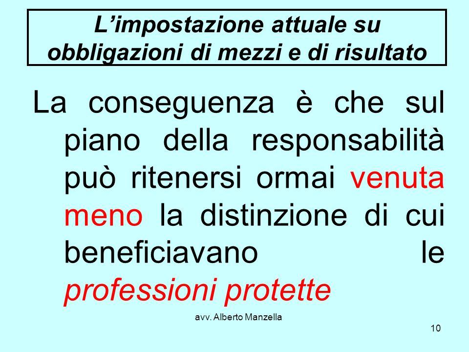 avv. Alberto Manzella 10 Limpostazione attuale su obbligazioni di mezzi e di risultato La conseguenza è che sul piano della responsabilità può ritener