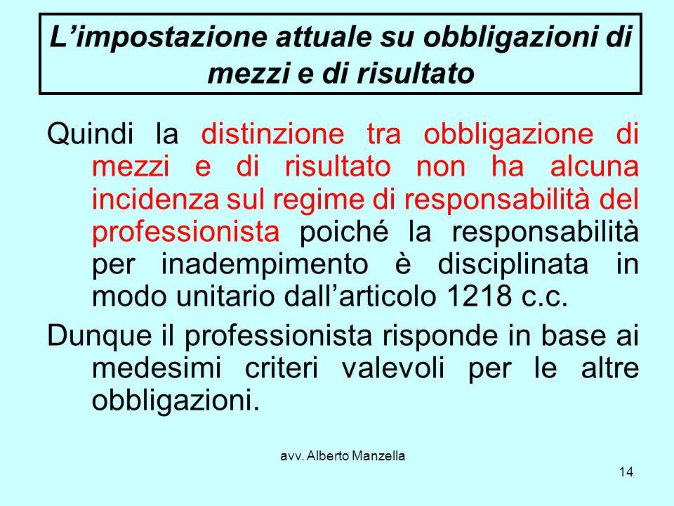 avv. Alberto Manzella 14 Limpostazione attuale su obbligazioni di mezzi e di risultato Quindi la distinzione tra obbligazione di mezzi e di risultato
