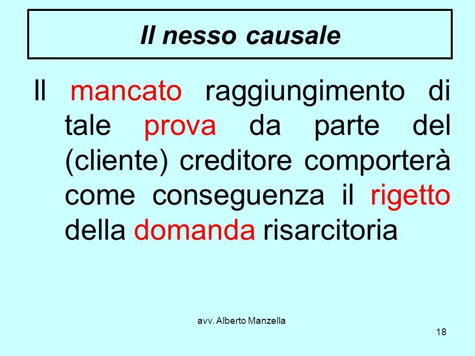 avv. Alberto Manzella 18 Il nesso causale Il mancato raggiungimento di tale prova da parte del (cliente) creditore comporterà come conseguenza il rige