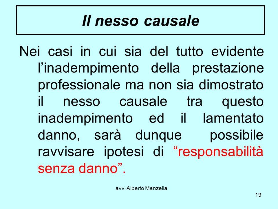 avv. Alberto Manzella 19 Il nesso causale Nei casi in cui sia del tutto evidente linadempimento della prestazione professionale ma non sia dimostrato