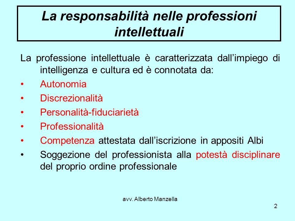 avv. Alberto Manzella 2 La responsabilità nelle professioni intellettuali La professione intellettuale è caratterizzata dallimpiego di intelligenza e