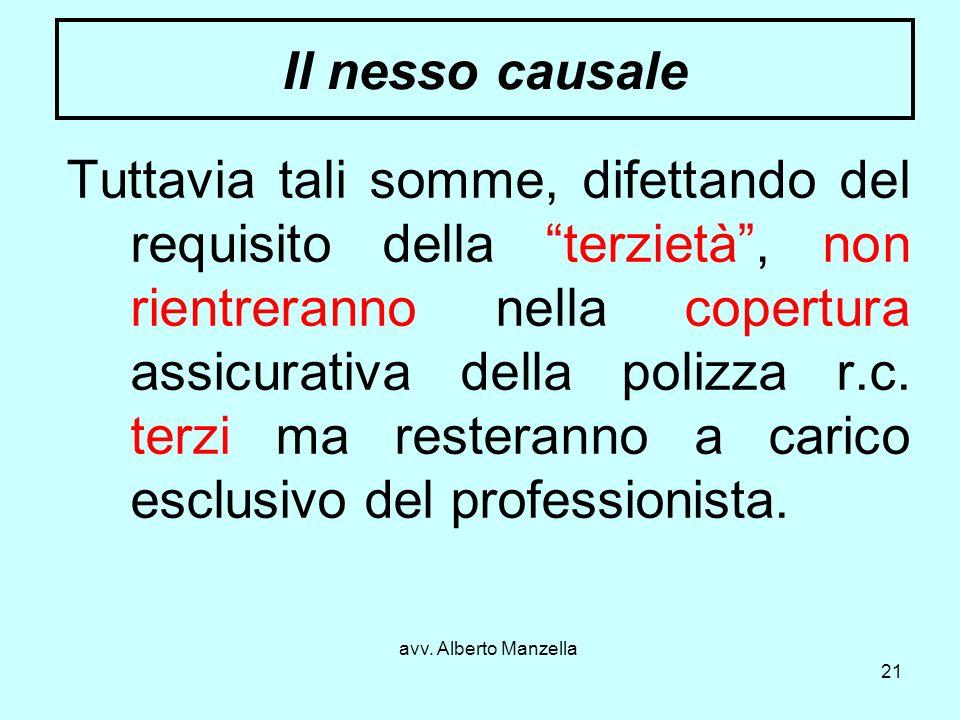 avv. Alberto Manzella 21 Il nesso causale Tuttavia tali somme, difettando del requisito della terzietà, non rientreranno nella copertura assicurativa