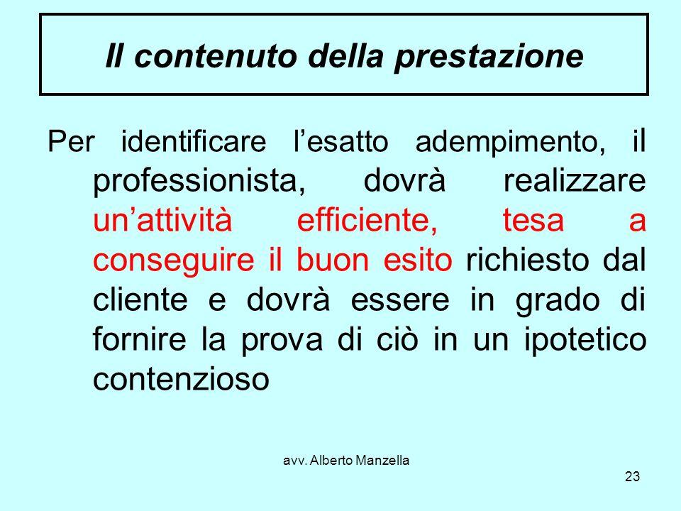 avv. Alberto Manzella 23 Il contenuto della prestazione Per identificare lesatto adempimento, i l professionista, dovrà realizzare unattività efficien