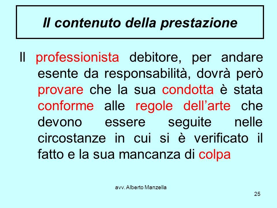 avv. Alberto Manzella 25 Il contenuto della prestazione Il professionista debitore, per andare esente da responsabilità, dovrà però provare che la sua