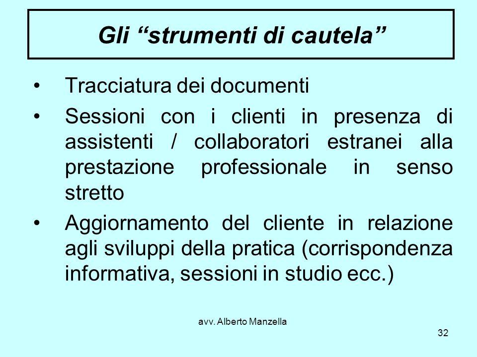 avv. Alberto Manzella 32 Gli strumenti di cautela Tracciatura dei documenti Sessioni con i clienti in presenza di assistenti / collaboratori estranei
