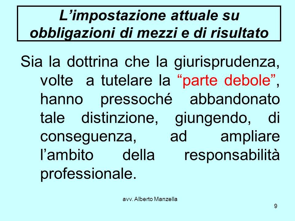 avv. Alberto Manzella 9 Limpostazione attuale su obbligazioni di mezzi e di risultato Sia la dottrina che la giurisprudenza, volte a tutelare la parte
