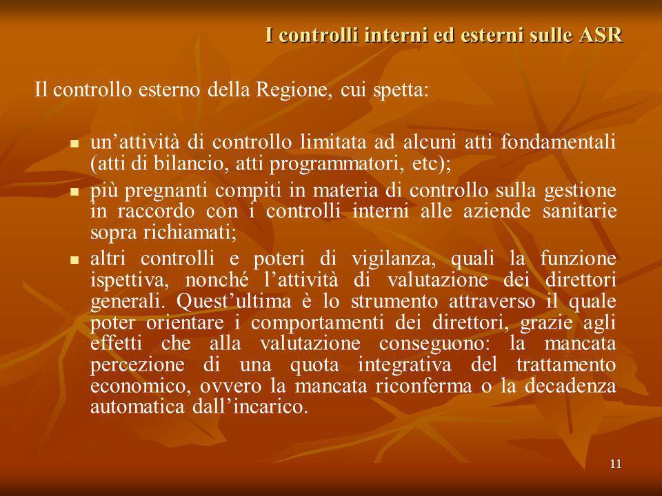 11 I controlli interni ed esterni sulle ASR Il controllo esterno della Regione, cui spetta: unattività di controllo limitata ad alcuni atti fondamenta