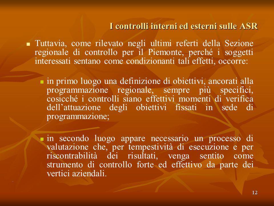 12 I controlli interni ed esterni sulle ASR Tuttavia, come rilevato negli ultimi referti della Sezione regionale di controllo per il Piemonte, perché