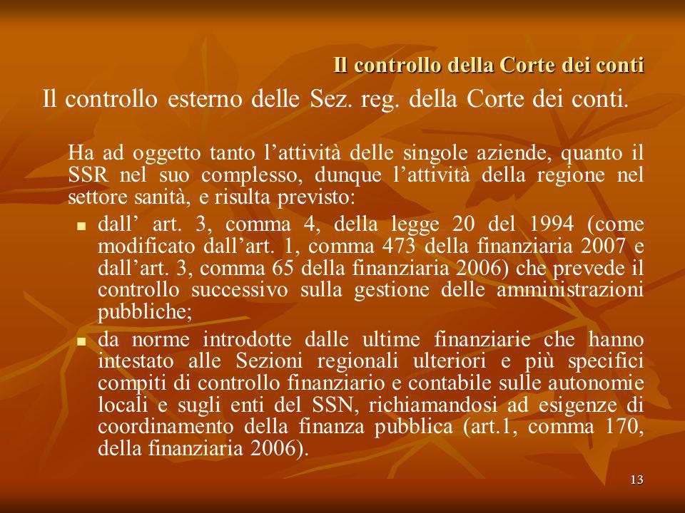 13 Il controllo della Corte dei conti Il controllo esterno delle Sez. reg. della Corte dei conti. Ha ad oggetto tanto lattività delle singole aziende,