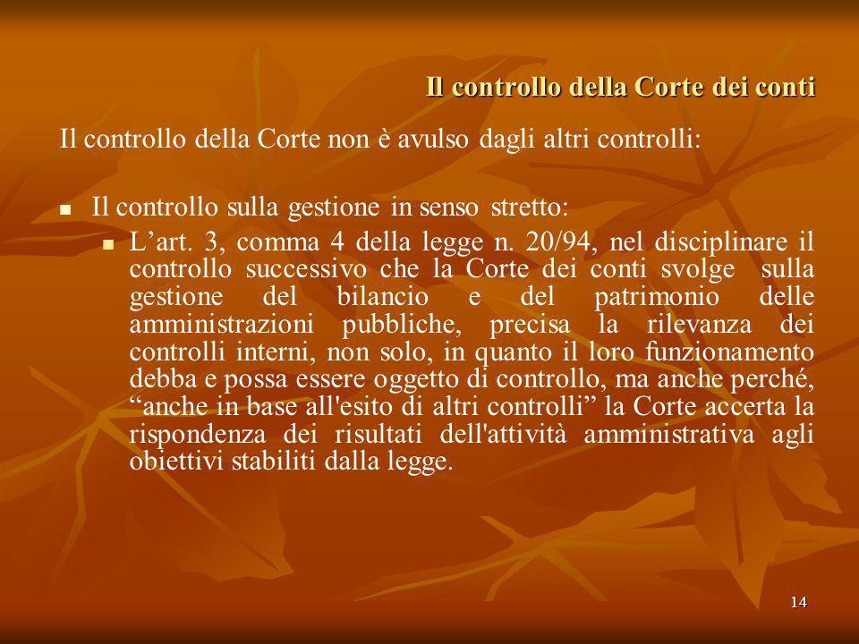 14 Il controllo della Corte dei conti Il controllo della Corte non è avulso dagli altri controlli: Il controllo sulla gestione in senso stretto: Lart.