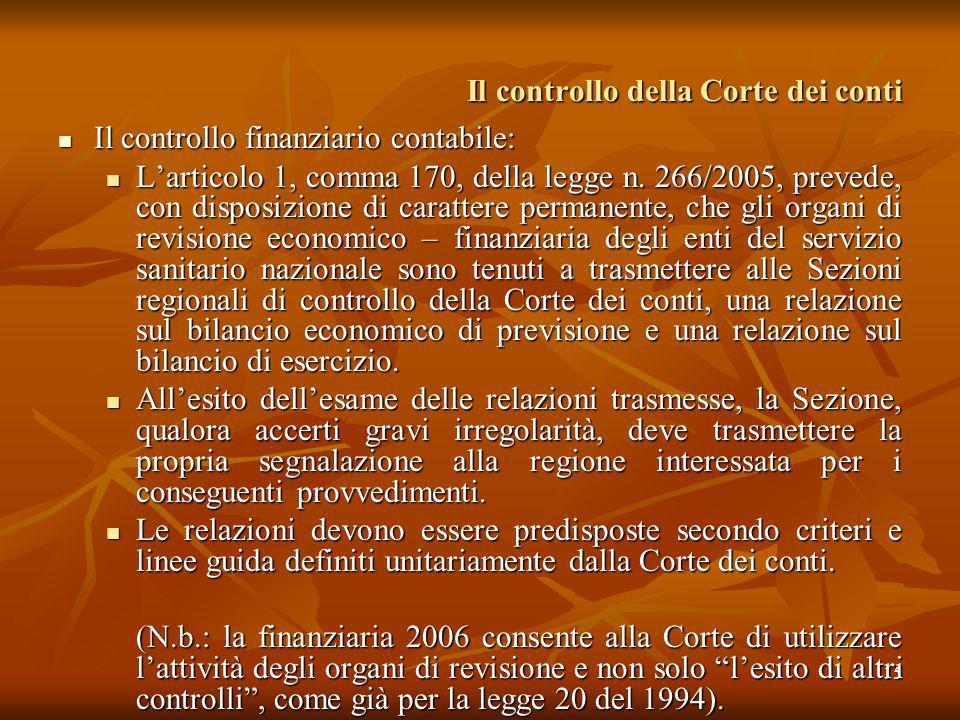 15 Il controllo della Corte dei conti Il controllo finanziario contabile: Il controllo finanziario contabile: Larticolo 1, comma 170, della legge n. 2