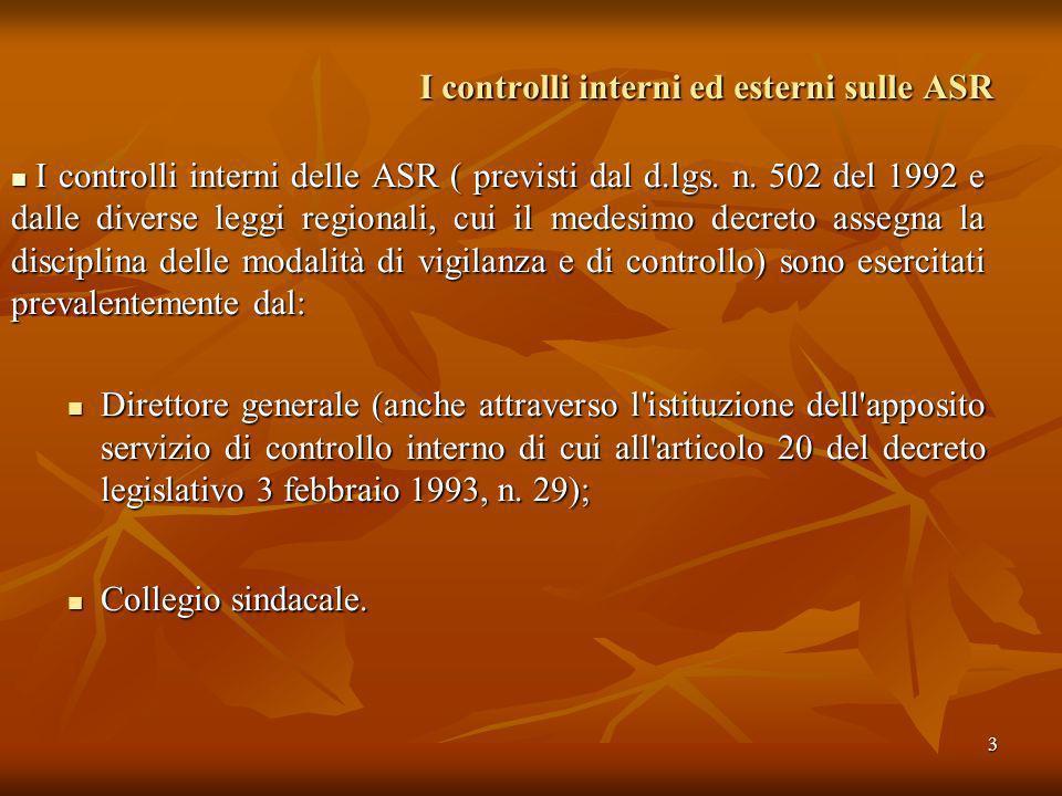 3 I controlli interni ed esterni sulle ASR I controlli interni delle ASR ( previsti dal d.lgs. n. 502 del 1992 e dalle diverse leggi regionali, cui il