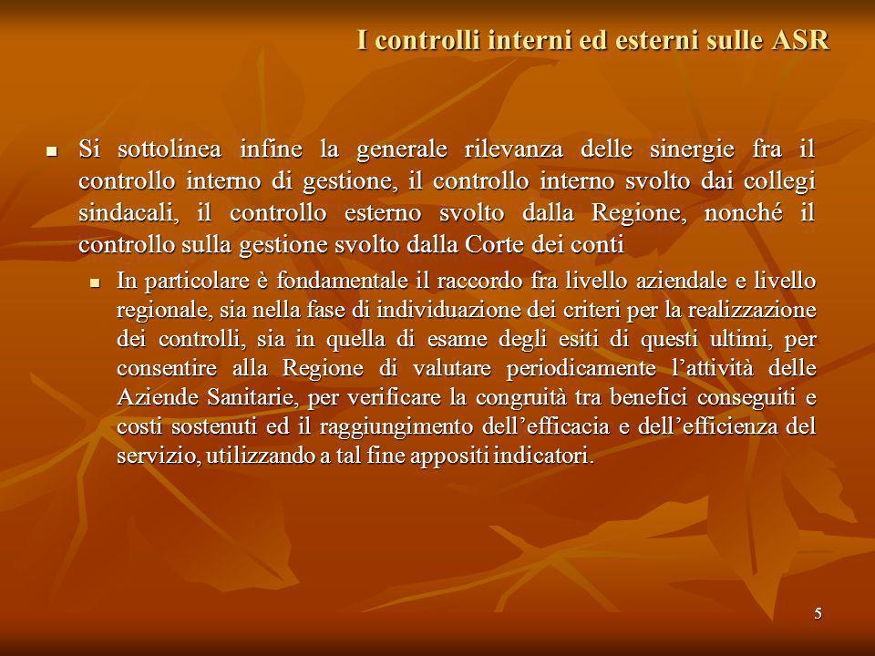 5 I controlli interni ed esterni sulle ASR Si sottolinea infine la generale rilevanza delle sinergie fra il controllo interno di gestione, il controll