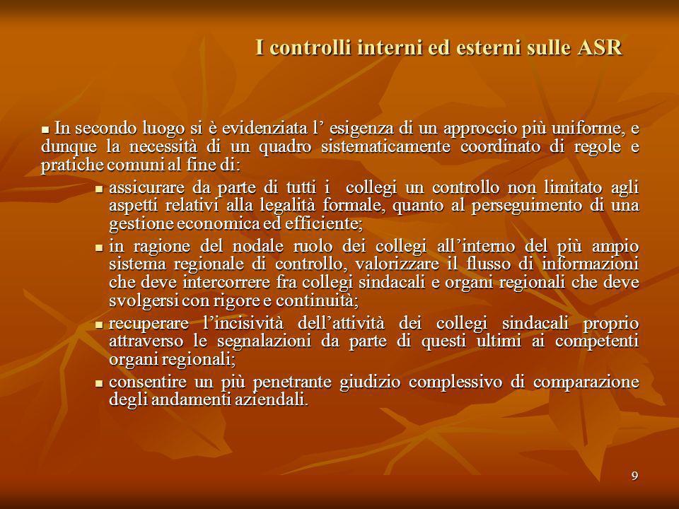 I controlli interni ed esterni sulle ASR In merito a questi rilievi, ribaditi nellultimo referto sulla gestione sanitaria regionale nell esercizio 2006 (del.