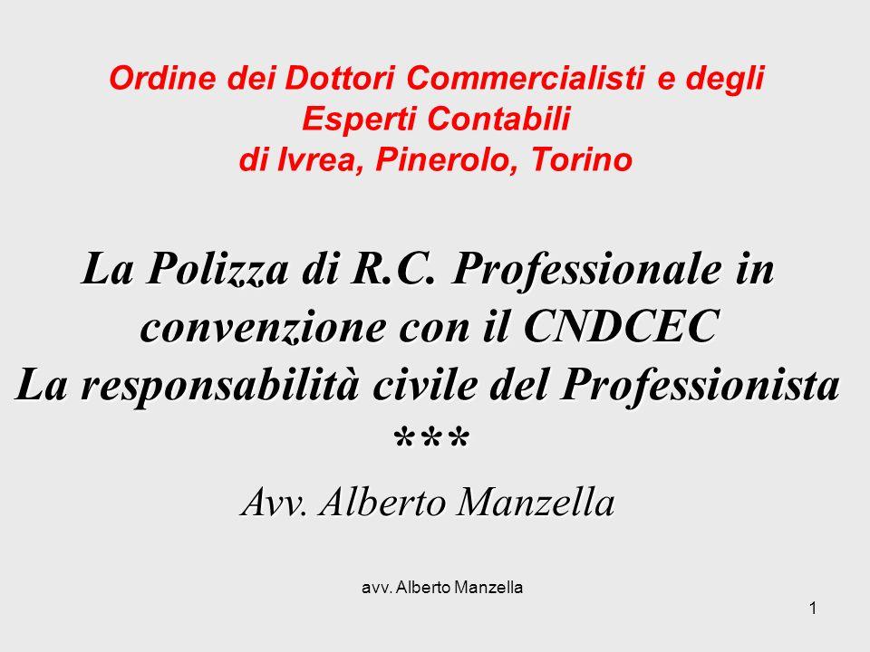avv. Alberto Manzella 1 La Polizza di R.C. Professionale in convenzione con il CNDCEC La responsabilità civile del Professionista *** Avv. Alberto Man