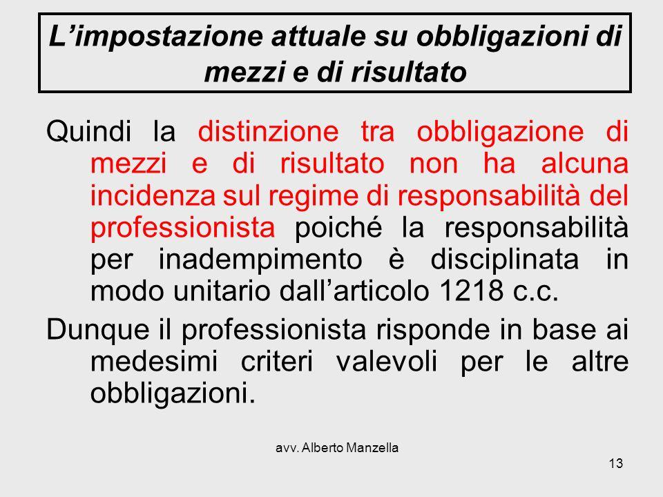 avv. Alberto Manzella 13 Limpostazione attuale su obbligazioni di mezzi e di risultato Quindi la distinzione tra obbligazione di mezzi e di risultato