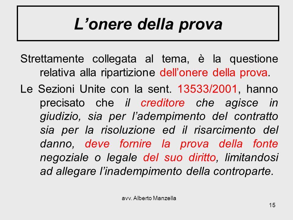 avv. Alberto Manzella 15 Lonere della prova Strettamente collegata al tema, è la questione relativa alla ripartizione dellonere della prova. Le Sezion