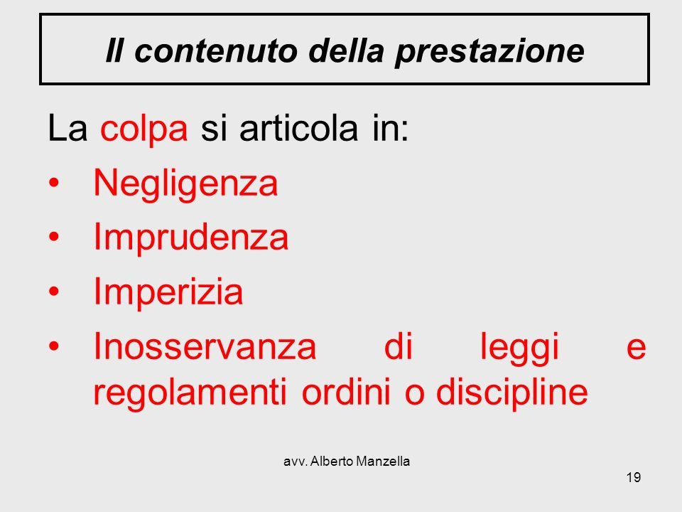 avv. Alberto Manzella 19 Il contenuto della prestazione La colpa si articola in: Negligenza Imprudenza Imperizia Inosservanza di leggi e regolamenti o