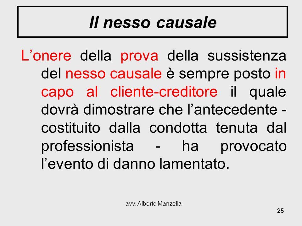 avv. Alberto Manzella 25 Il nesso causale Lonere della prova della sussistenza del nesso causale è sempre posto in capo al cliente-creditore il quale