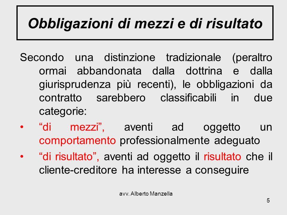 avv. Alberto Manzella 5 Obbligazioni di mezzi e di risultato Secondo una distinzione tradizionale (peraltro ormai abbandonata dalla dottrina e dalla g