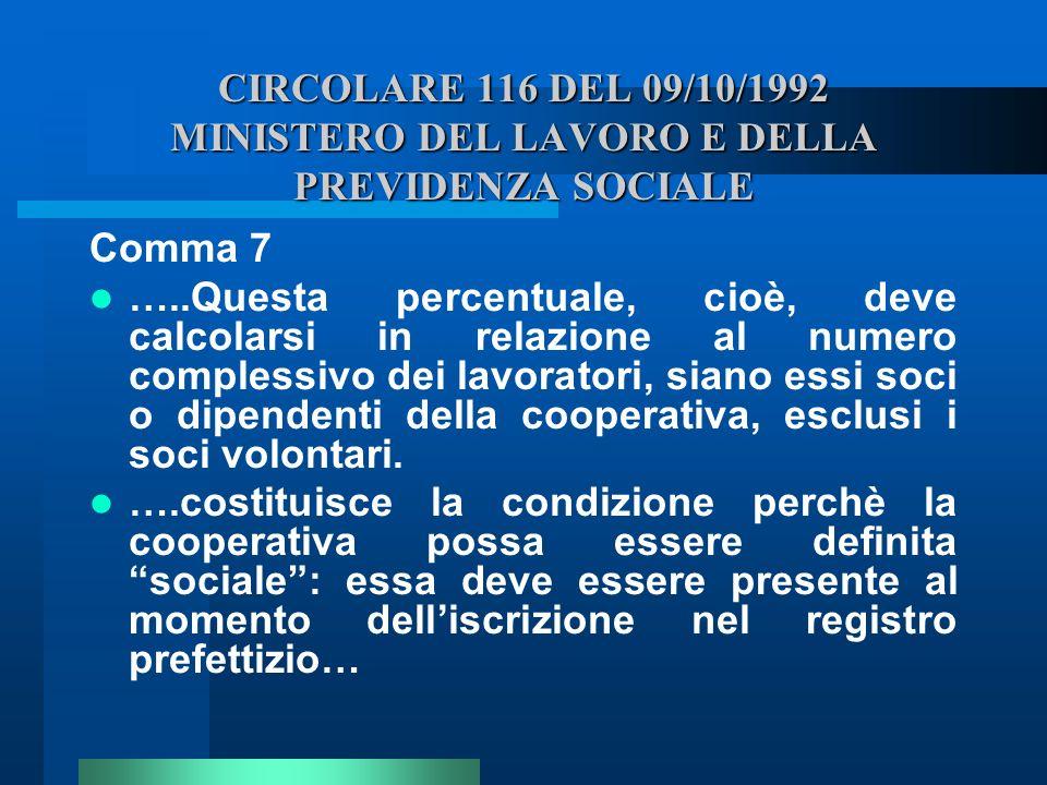 CIRCOLARE 116 DEL 09/10/1992 MINISTERO DEL LAVORO E DELLA PREVIDENZA SOCIALE Comma 7 …..Questa percentuale, cioè, deve calcolarsi in relazione al nume